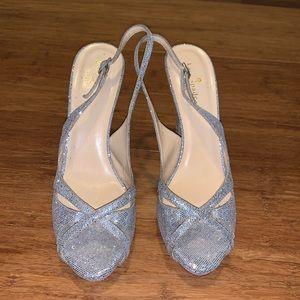 Kate Spade silver sling back peep toe